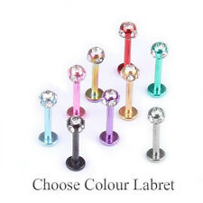 Labret Bar Stud Lip Monroe Piercing 16G Colours With 5 Way 3mm Crystal Gem Ball