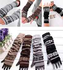 Free ShippingWarmer Mitten Long Fingerless Snowflake Winter Arm Hand Gloves