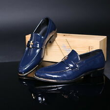 Men Punk Style Cross Decor Patent Leather Dress Oxfords Slip-on Shoes Eu 37-43