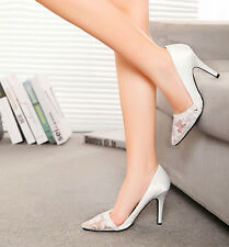 Pearl white Wedding shoes prom flower lace heels dress pump Bridal shoes