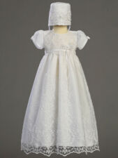 Infant Girls Christening Baptism Gown & Bonnet Embroidered Tulle w/ Bead Work