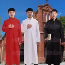 Black Clergy Cassock Roman/Orthodox Robe Cope Single Breasted Button Vestments
