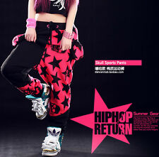 Kids Adult Skull star trouser Costume Harem sports Hip Hop patchwork dance pants