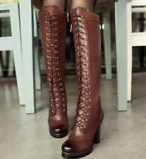 Womens Thick heel Platform Lace UP Knee High Boots Retro Chic Vintage New Shoes