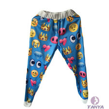 The new autumn and winter casual blue print 3D thickened EMOJI jogging pants Men