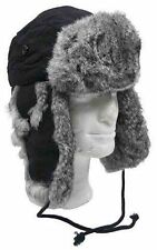 BLACK TRAPPER / RUSSIAN STYLE WINTER HAT WARM WITH REAL GREY RABBIT FUR FLAPS