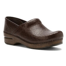 Dansko PROFESSIONAL WOVEN Womens Brown Leather Slip On Stapled Clog Shoes