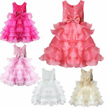 Girls Party Flower Pageant Dress 2-10Y Wedding Communion Layered Bridesmaid New