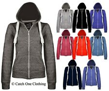 LADIES PLAIN ZIP HOODIE WOMENS FLEECE SWEATSHIRT HOODED JACKET COAT TOP 8-20