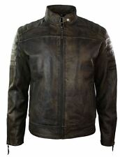 Mens Retro Vintage Distressed Biker Jacket Real Washed Leather Brown Urban