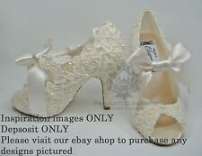 YOUR OWN SHOES CUSTOMISED - VINTAGE LACE PEARL CRYSTAL BLING BRIDAL WEDDING