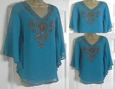 NEW EX MONSOON LADIES TEAL GREEN BLUE BEADED PARTY TOP BLOUSE BATWING SIZE 10-18