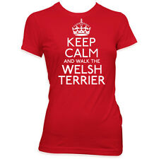 Camiseta Mascota Perro Mujeres Hombres Keep Calm and Walk The Welsh Terrier #311