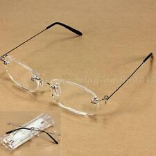 New Unisex Clear Rimless Reading Glasses Spectacles Eyeglasses with Case AI1G