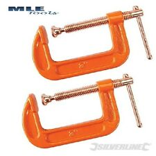 2 x Silverline Steel G Clamp Copper plated Welding 50 75 100 150 200 250 300 VC