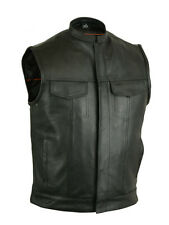 Men's Premium Leather Concealment Vest All Sizes- SONS OF ANARCHY STYLE - NEW