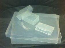 CLEAR PLASTIC STORAGE BOX MULTIPLE SIZES A4, BUSINESS CARD, CARD HOLDER BOX