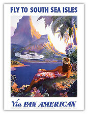 Fly to South Seas Isles Pan Am Vintage Airline Travel Art Poster Print