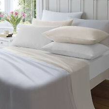 Platinum Flannelette Flat Bed Sheets Single Double King SuperKing White Cream