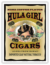 Hula Girl Brand Cigar Kona Coffee Flavor Hawaii Vintage Art Poster Print