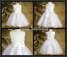 White or Pink Flower Girl, Baby, Christening Party Wedding age 0-12M 1-7 Years