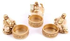 Resin Cast Laughing Chinese Buddha Tealight  Holder With Tealight (S83)