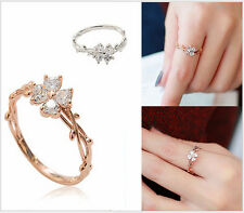 """Micro-inlay CZ """"Four-leaf Clover"""" Silver/Rose Gold Engagement Wedding Party Ring"""