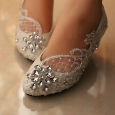8cm heels White crystal Wedding ballet lace flowers Bridal shoes Bridesmaid