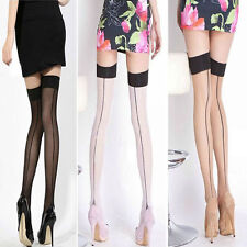 New Comfortable Sexy Womens Ladys Girls   Heal Seamed Seam Thigh High Stockings