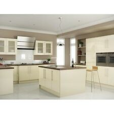 CREAM HIGH GLOSS KITCHEN CABINETS BASE AND WALL UNITS WITH DOORS AND HANDLES