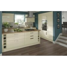 KITCHEN CABINETS BASE AND WALL UNITS, WITH DOORS AND HANDLES, CREAM HIGH GLOSS