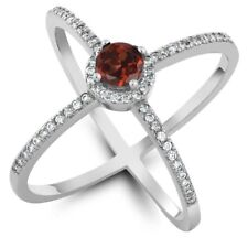"""1.42 Ct Round Cut Natural Red Garnet 925 Sterling Silver """"X"""" Ring"""