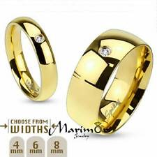 316 Stainless Steel Gold Ion Plated CZ Classic Wedding Band 4,6 or 8mm Sz 4.5-14