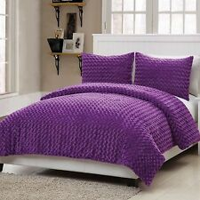 NEW Bed Bag Twin Full Bed 3 pc Purple Bright Faux Fur Soft Comforter Shams Set
