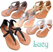 Women Shoes Sandals Gladiator Woven T-Strap Thong Flat Slipper Flip Flops - SALE