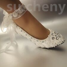Low heel White pearl Wedding flat ballet lace satin Bridal shoes heels size5-10