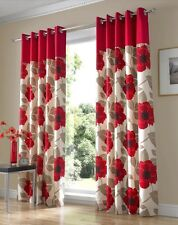 Ring Top Lined Pair Eyelet Ready Made Curtains Red Beige