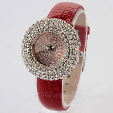 New PU Crystal Analog Dial WristWatch Women Lady Girl Valentine's Day Best Gifts