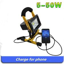 Portable LED Emergency Light 5-20W Flood Light Rechargeable Lamp Outdoor Yellow