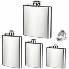 4 6 8 10oz Stainless Steel Hip Liquor Whiskey Alcohol Flask Cap+Carabiner GOOD
