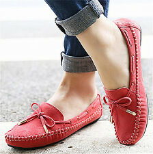 Womens Soft Suede Bowknot Ballet Flat Slip On Loafers Casual Comfort Boat Shoes