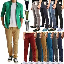 MENS SKINNY JEANS CHINO SLIM FIT REGULAR FIT PANTS TROUSERS STRAIGHT LEG BOTTOMS