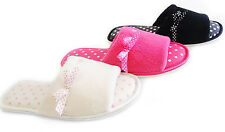 Ladies Super Soft CHIC Ribbon Detail Open Toe Mule Slippers Sizes 3/4, 5/6, 7/8
