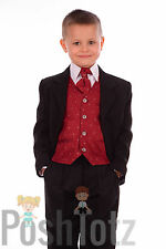 Boys 5 piece Wine & Black Formal Suit Wedding Pageboy Suits (0-3mths-15yrs)