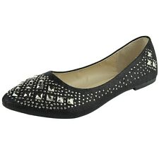 Womens Glitter Ballet Flats Rhinestone Studs Slip On Casual Shoes Black