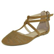 Womens T-Strap Ballet Flats Ankle Strap Studded Flat Sandals Tan