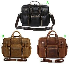Men's real Crazy Horse Leather Travel Bags Briefcases Messenger bag Laptop Totes