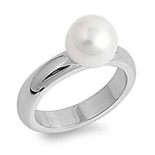 Ladies Stainless Steel Freswater Pearl Engagement Ring -Size 6 to11 - SHJSSR265