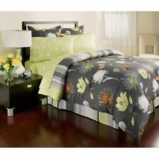 NEW Bed Bag King Queen Full Twin 8 pc Gray Yellow Floral Comforter Sheets Set