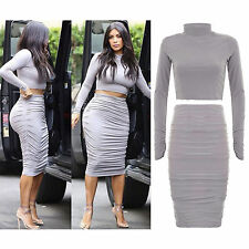 New Ladies Celeb Kim Kardashian Crop Top Women Ruched Midi Bodycon Co Ord Skirt